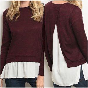 Sweaters - 🌿1 LEFT🌿Burgundy White Split Back Sweater